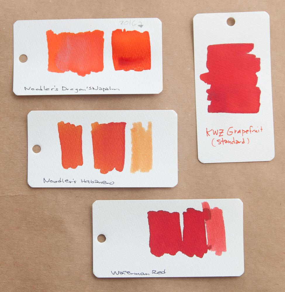 KWZ Grapefruit Ink comparison swabs