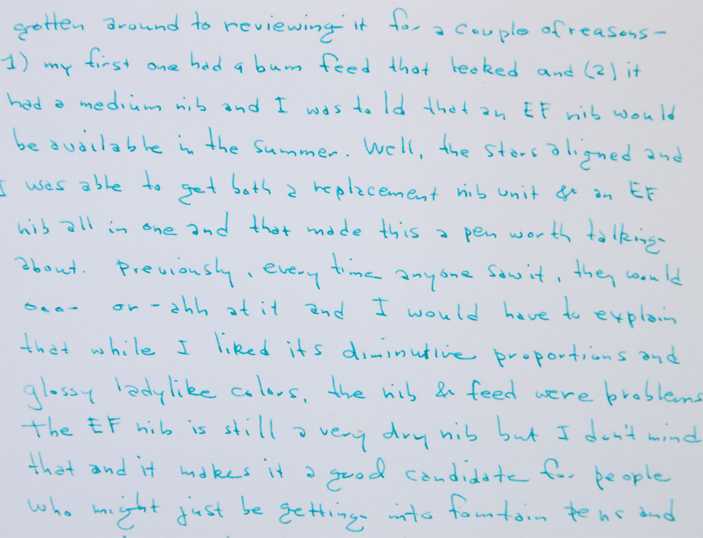 regal alice fountain pen close-up writing sample