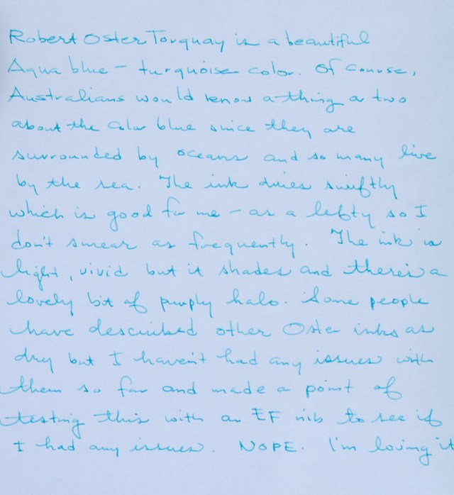 Robert Oster Torquay writing sample close-up