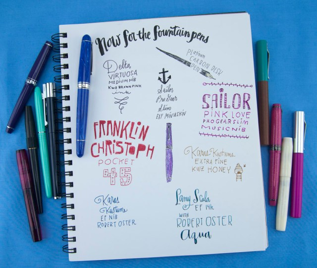 Denik Sketchbook Fountain pens