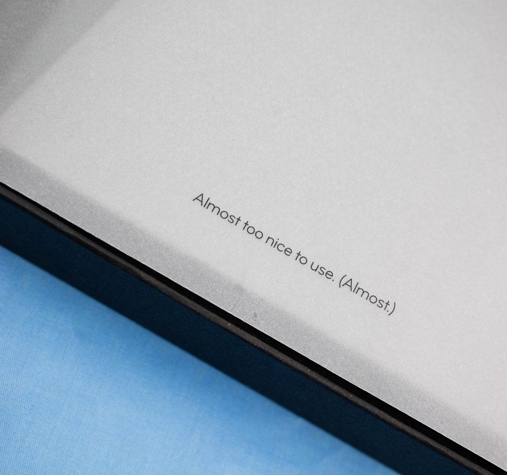 Moo flyleaf on notebook