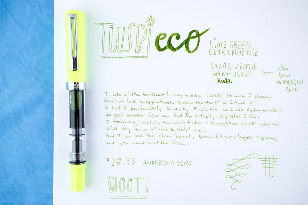 TWSBI Eco Lime Green Writing Sample