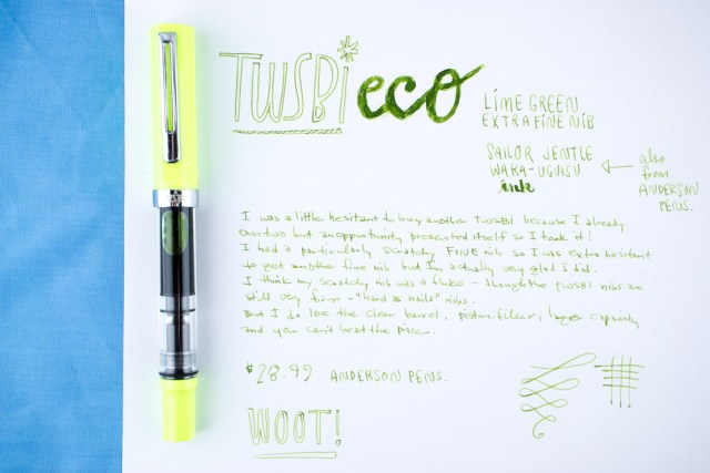 TWSBI Eco Lime Green Writing Sample