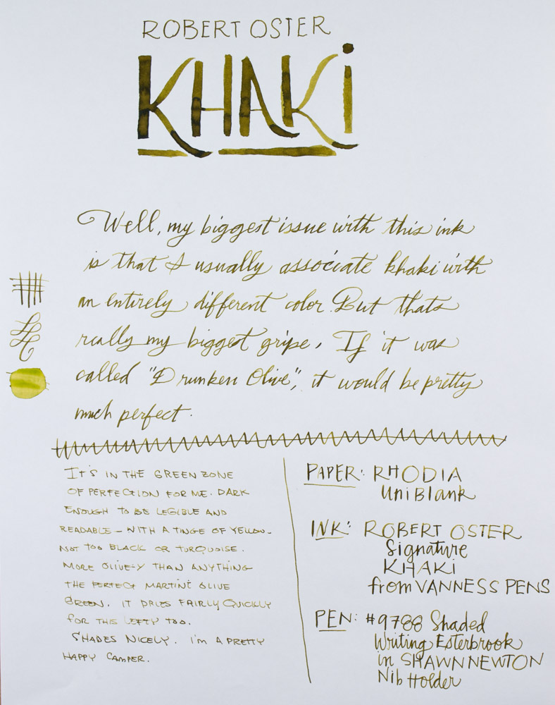 Robert Oster Khaki writing sample