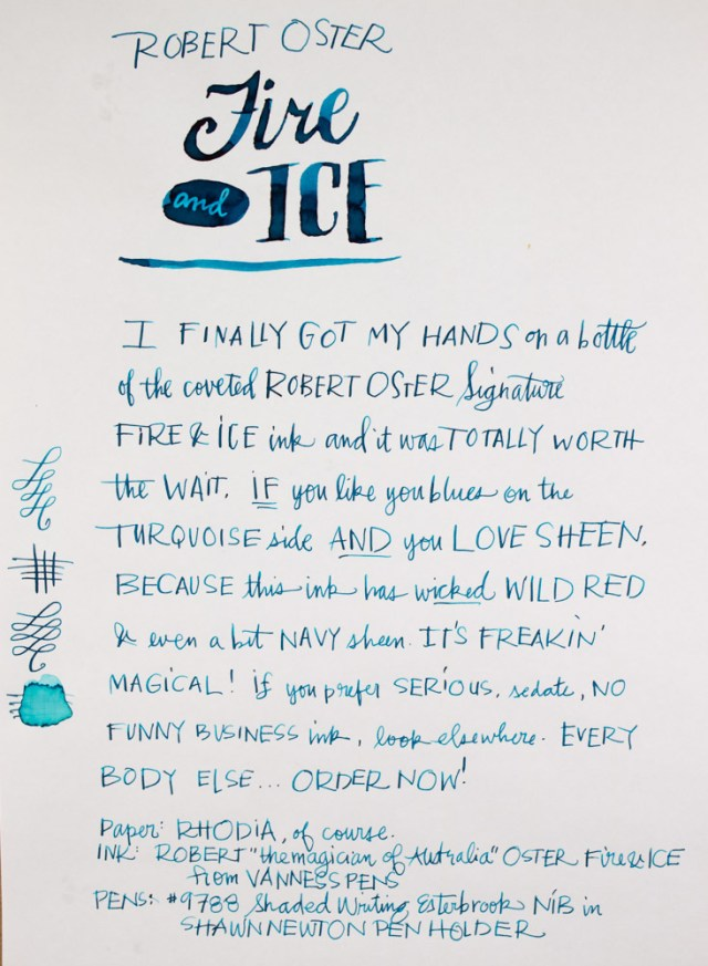 Robert Oster Fire & Ice Writing Sample
