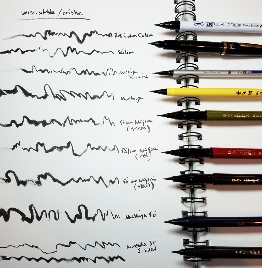 water soluble bristle pens