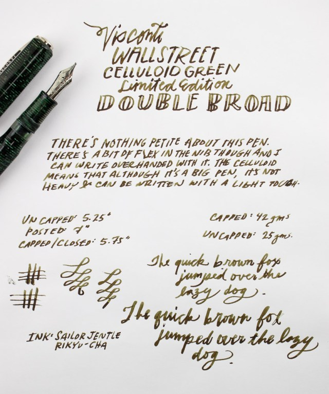 Visconti Wall Street Green Pearl Limited Edition Writing Sample