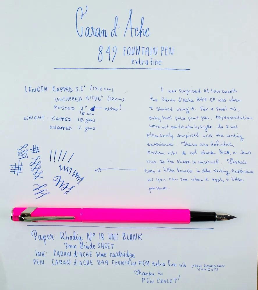Caran d'Ache 849 Fountain Pen writing sample
