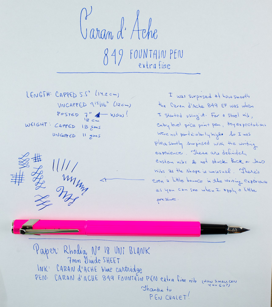 Caran d'Ache 849 Fountain Pen writing sample
