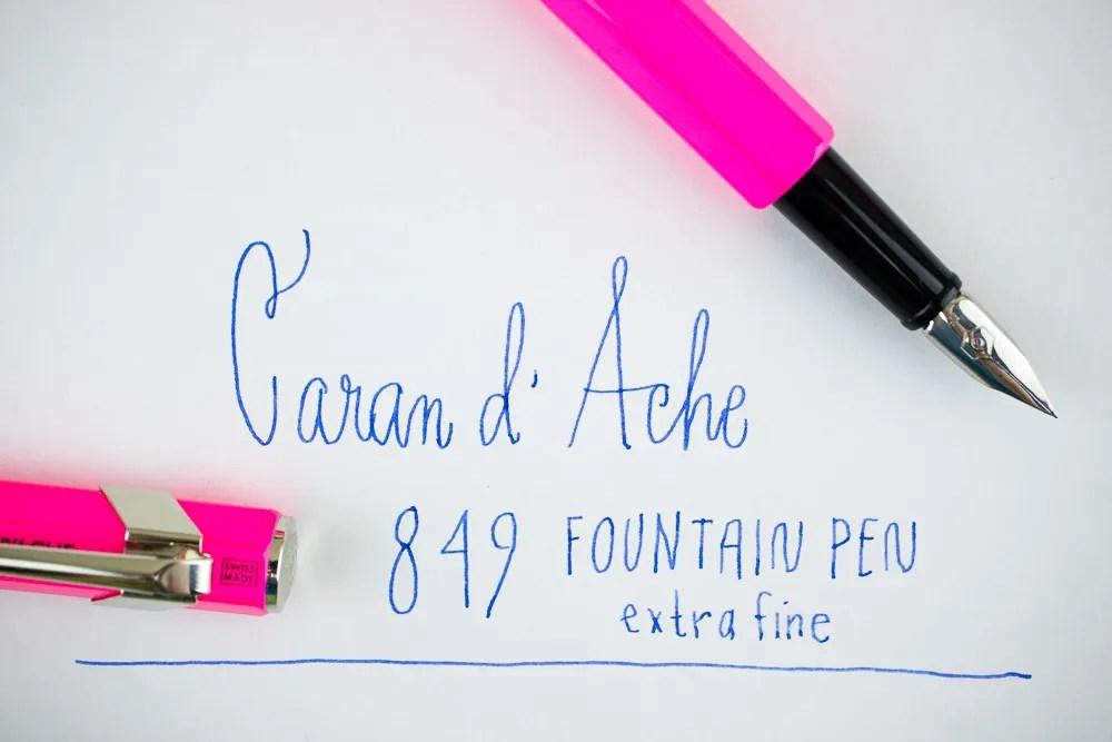 Caran d'Ache 849 Fountain Pen writing sample extra fine