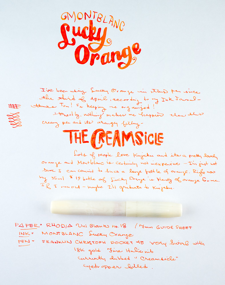 Montblanc Lucky Orange Writing Sample