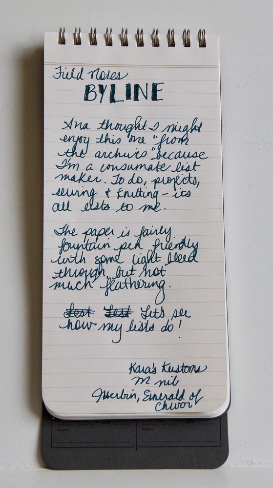 Field Notes Byline Writing Test