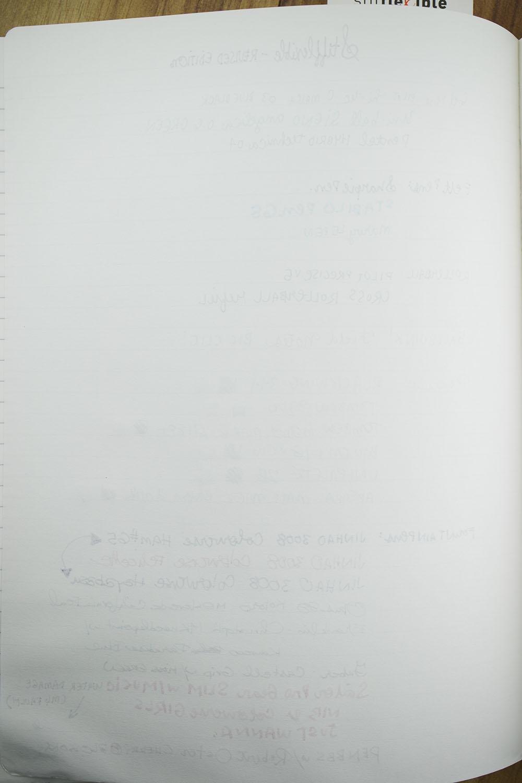 Stifflexible reverse of writing sample