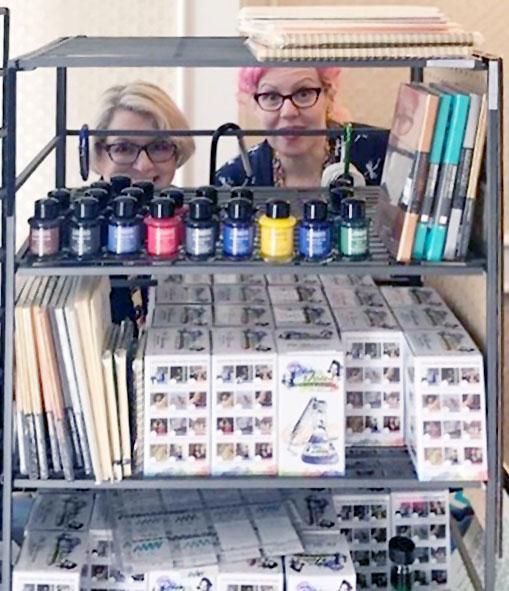 Ana & Lisa at Vannes Pen Shop table