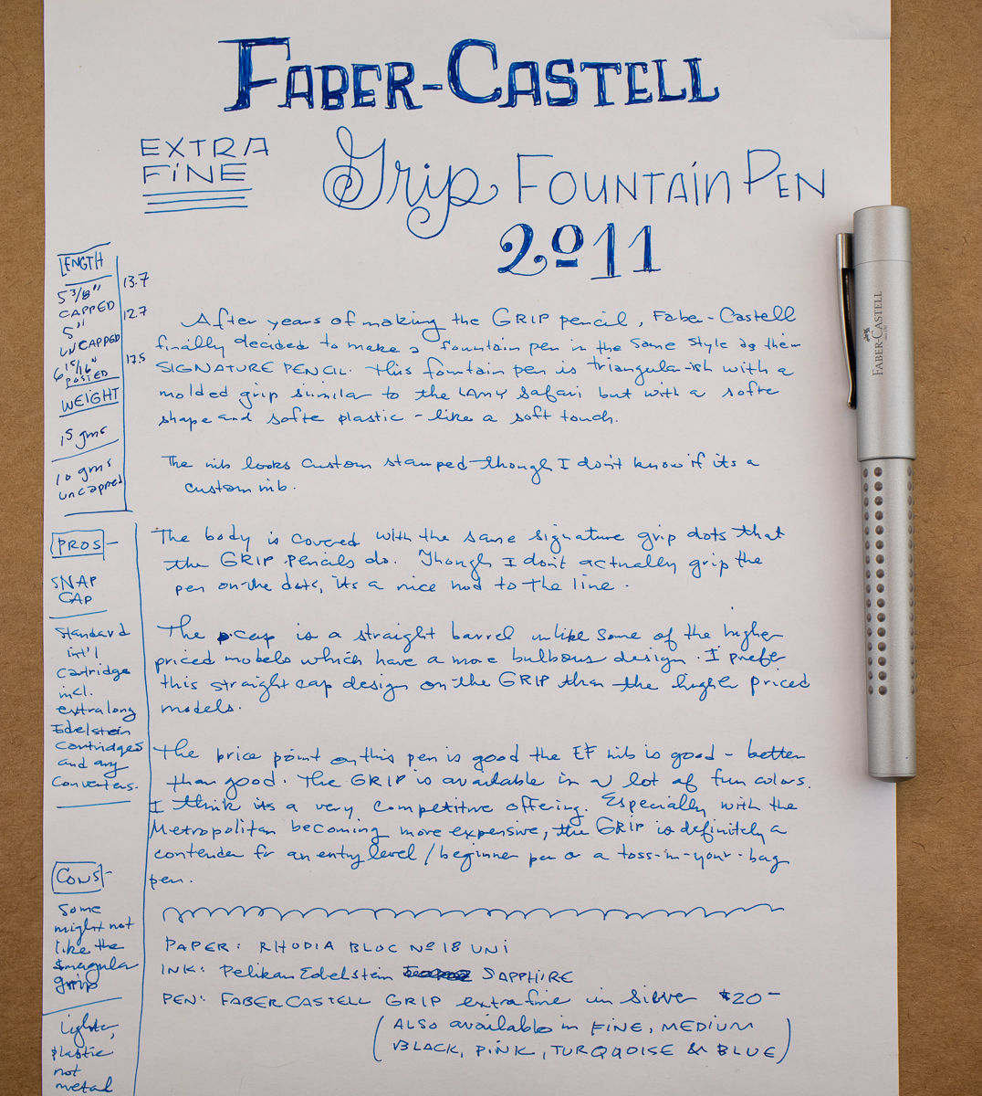 Faber-Castell Gripp 2011 Fountain Pen writing sample