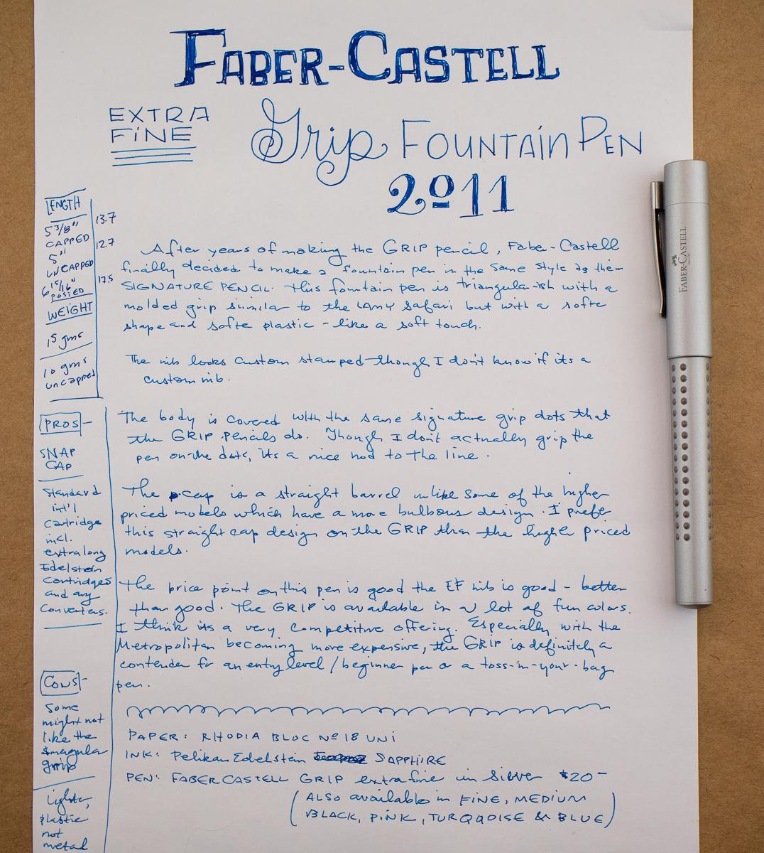 Faber-Castell Gripp 2011 Fountain Pen writing sample