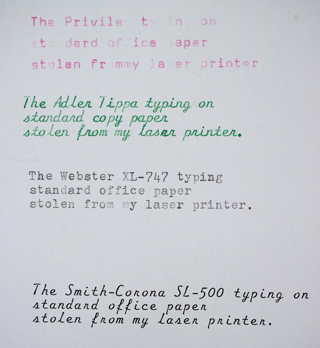 Life Typewriter Paper comparison on laser copy paper