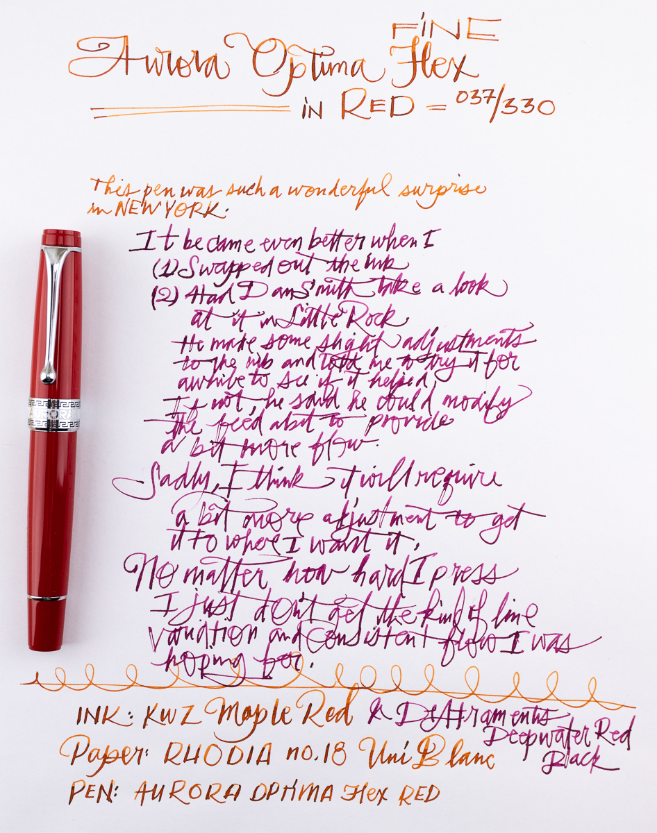 Aurora Optima Flex in Lipstick Red writing sample