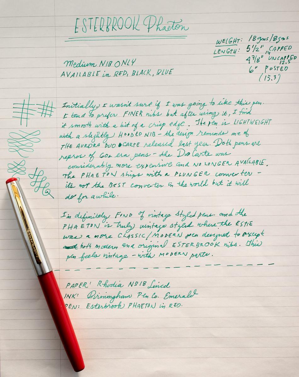 Esterbrook Phaeton writing sample