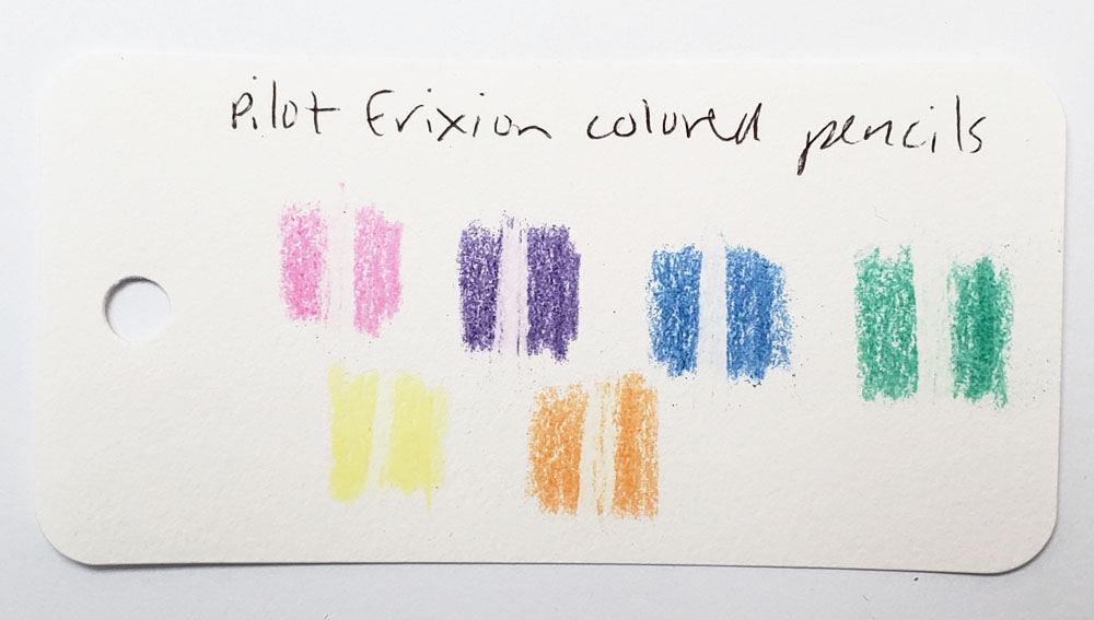Col-o-ring Frixion swatch for science experiment