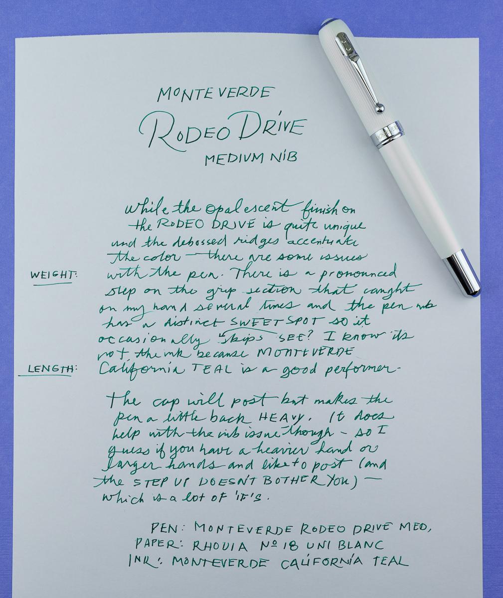 Monteverde Rodeo Drive Fountain Pen Writing Sample