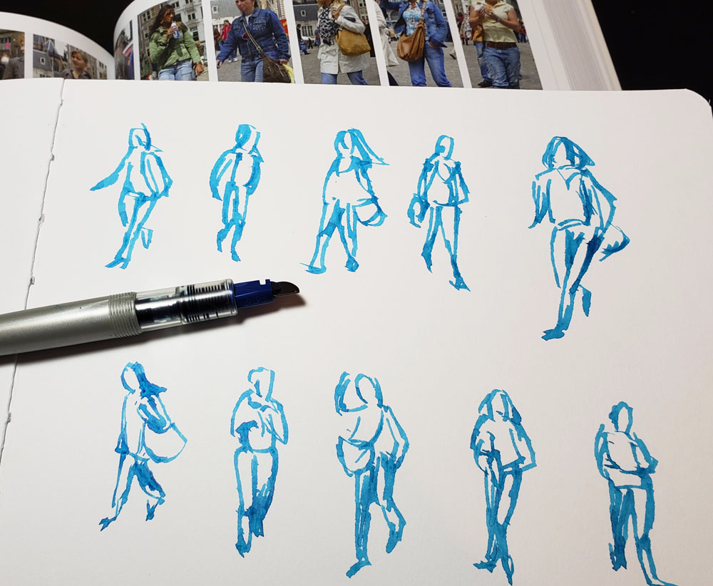 Parallel sketches with Sky Blue