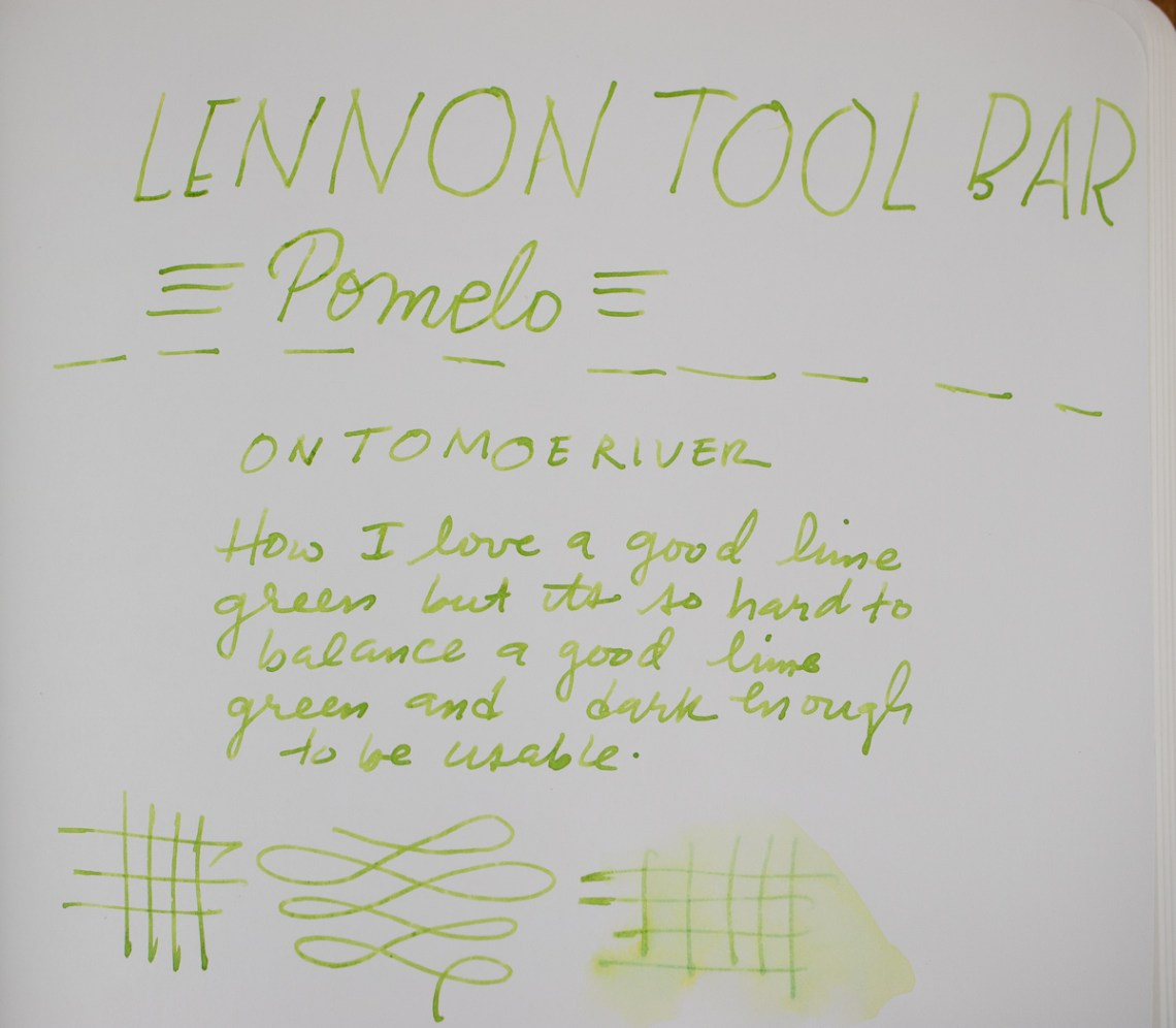 Lenn Tool Bar Pomelo Tomoe River writing sample