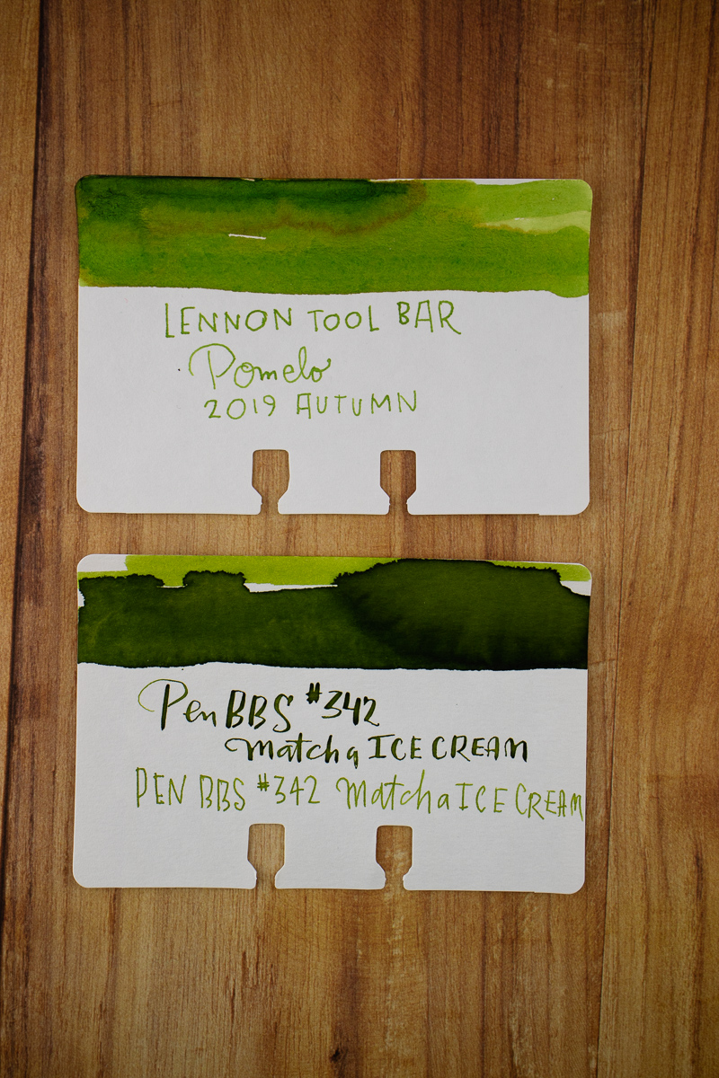 Pen BBS 342 and Lenn Tool Bar Pomelo bottle swatches
