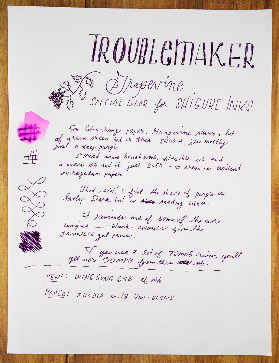 Troublemaker Inks Grapevine writing sample