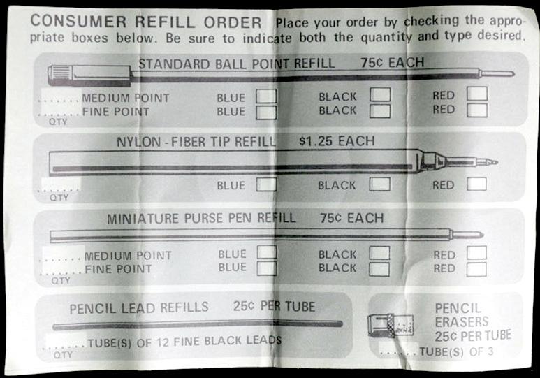 Anson Pen Refill order form