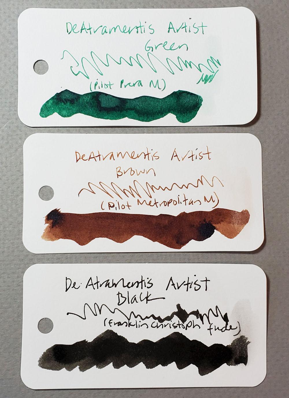 3 - DeAtramentis Artist inks -cards