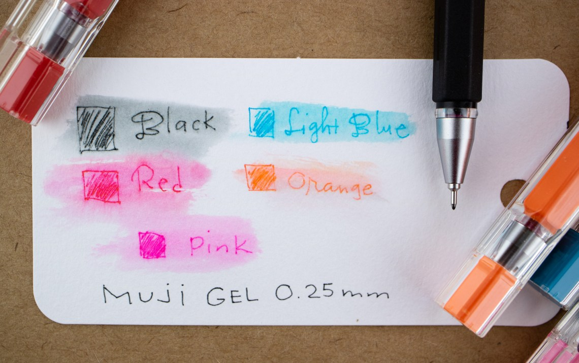 Muji Gel Pens 0.25mm water test
