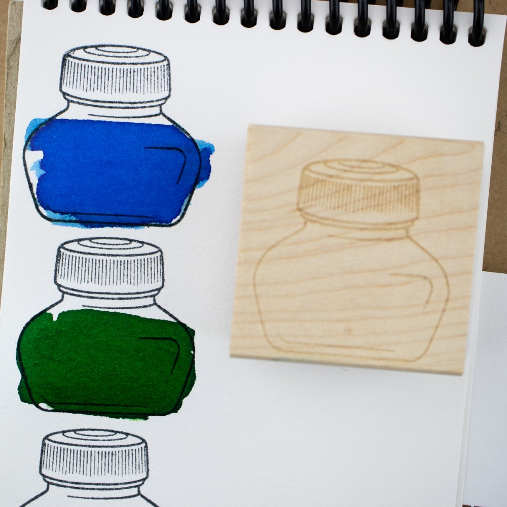 short bottle stamp art block