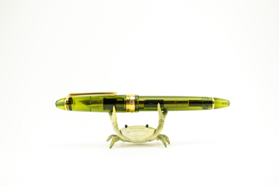 Sailor 1911 Kagero Green with crab pen stand