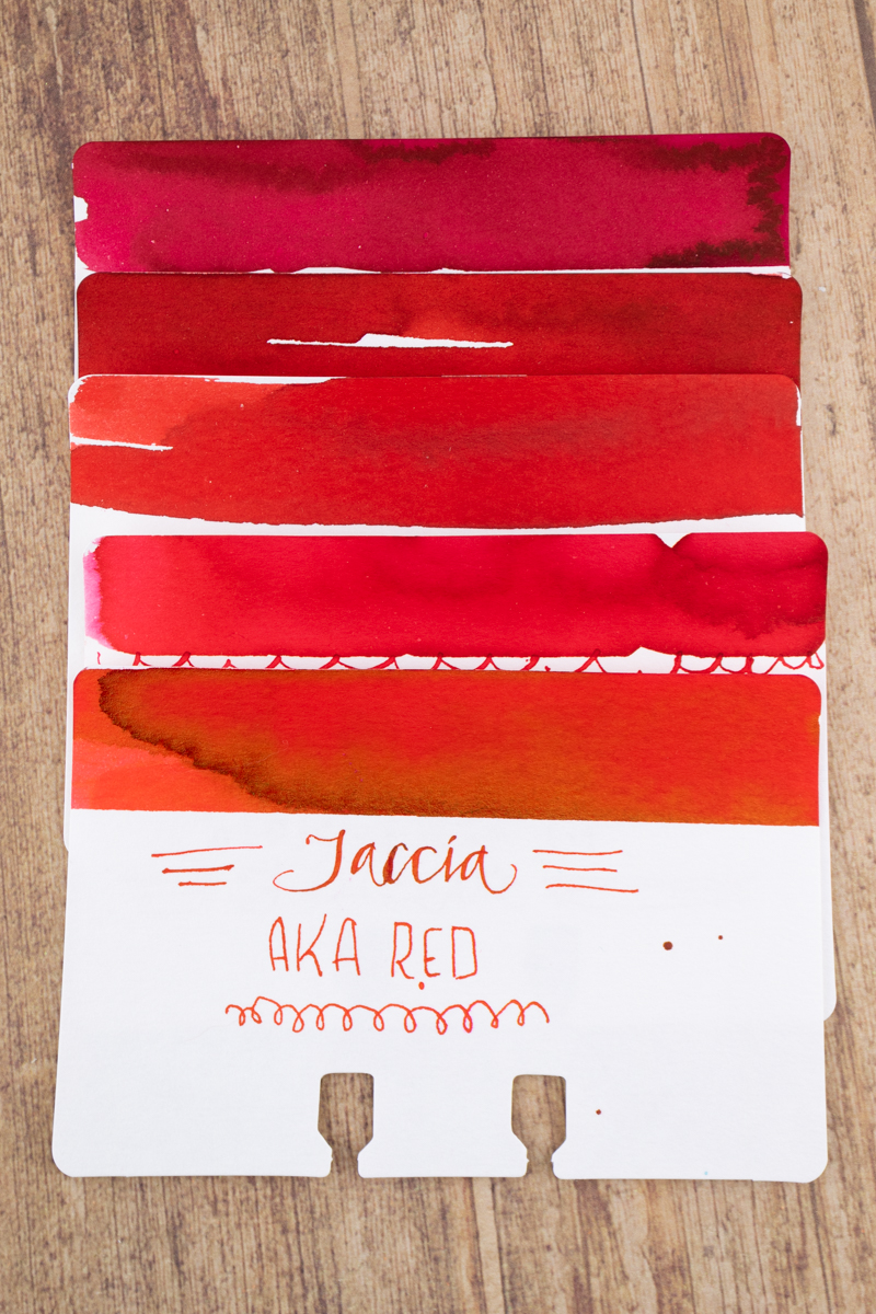 Sheaffer Ink Overview: Red ink comparison swatches