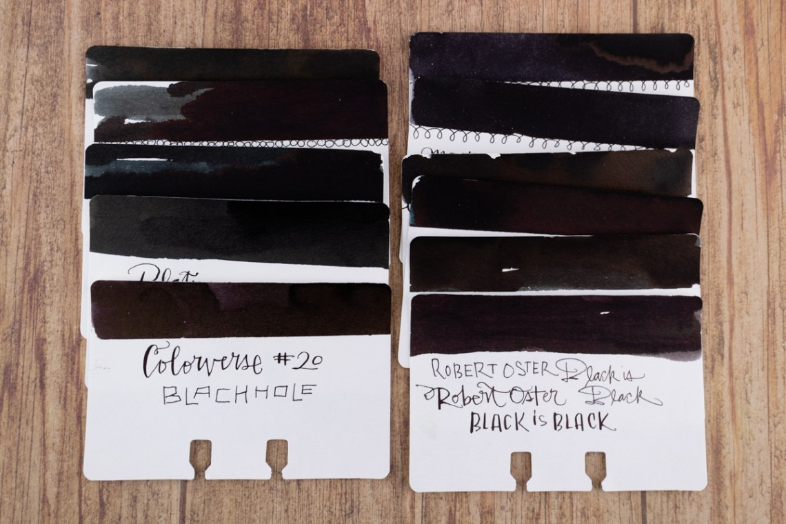 Sheaffer Ink Overview: Black ink comparison swatches