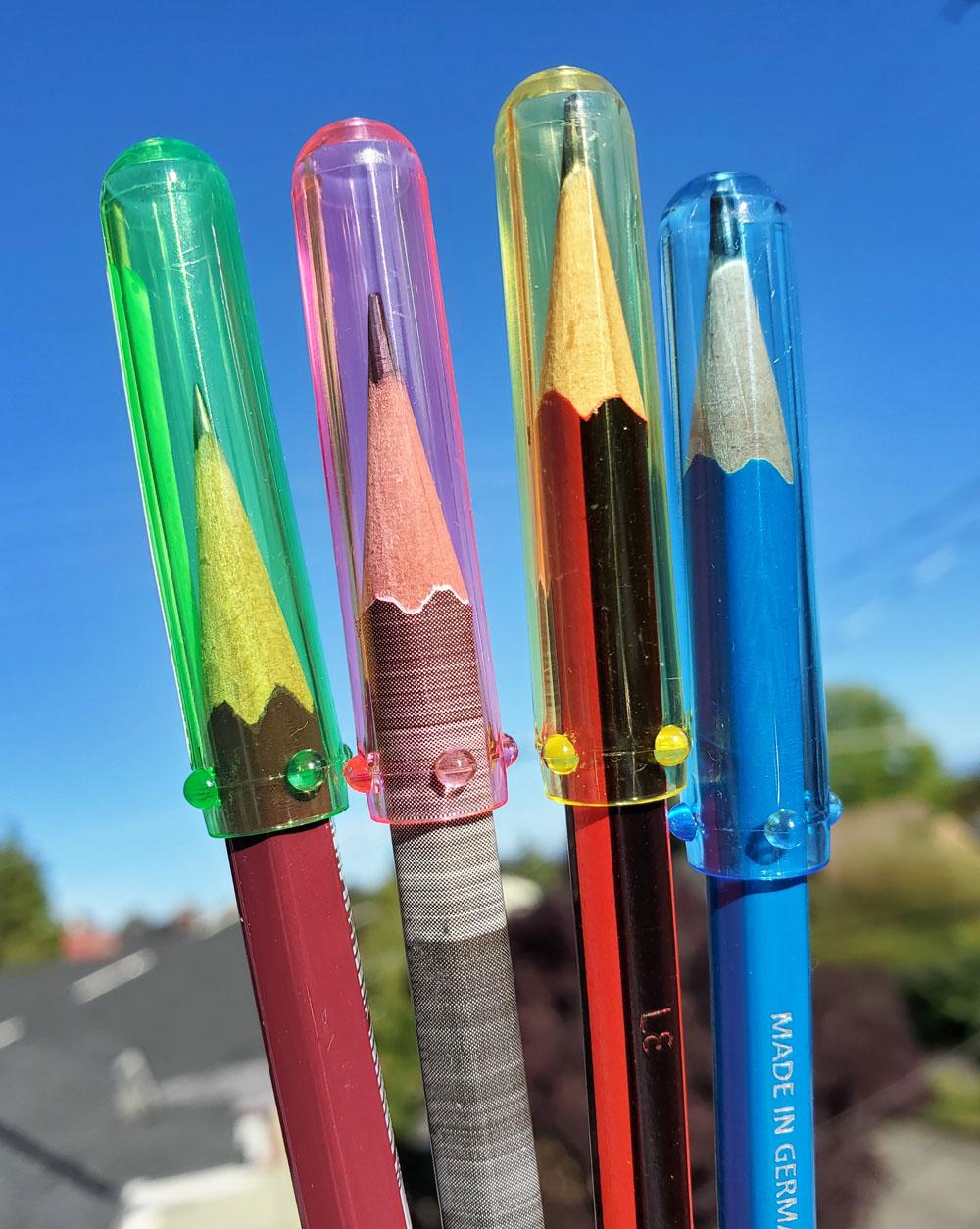 triangular caps on pencils