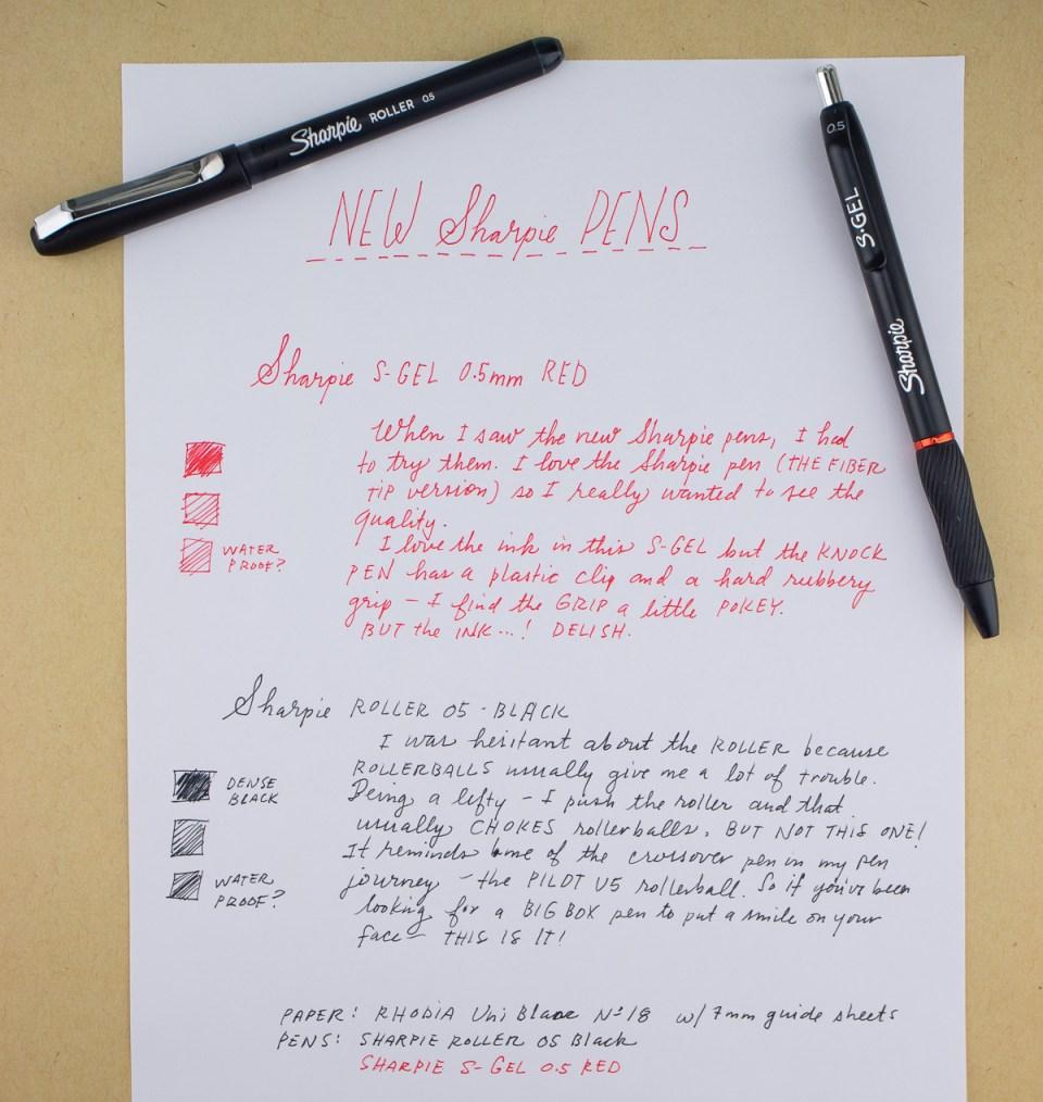 Sharpie S-Gel and Roller 05 pens
