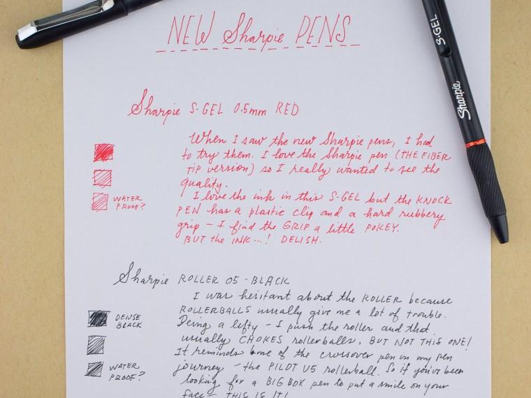 Pen Review: Sharpie S-Gel and Roller Pens