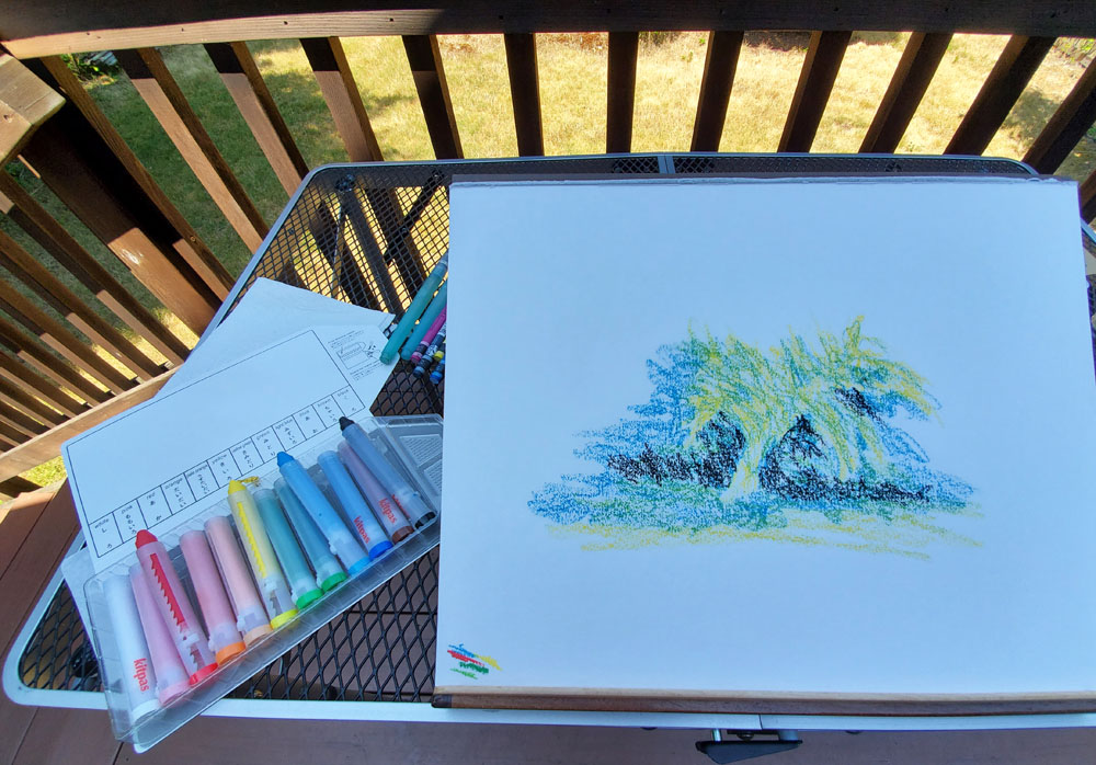 10 - sketching on the deck