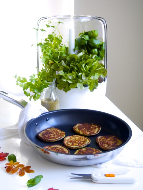 Pancakes with basil (gluten and dairy free) #urbangardening #fiskars