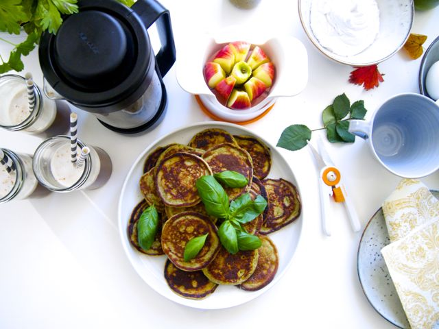 Pancakes with basil (gluten and dairy free)