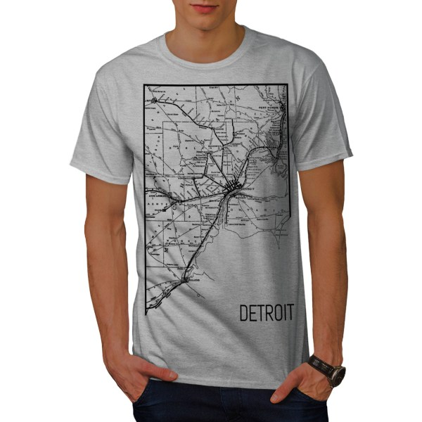 Wellcoda Map Street Detroit Mens T-shirt Art Work Graphic