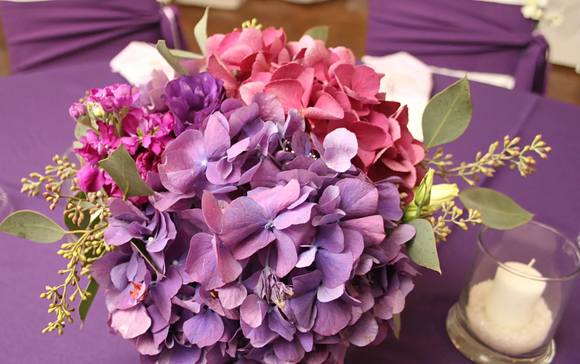 wedding chair covers reddit bungie cord elopement location in northern kentucky near cincinnati ohio arrangement of purple and pink hydrangeas on a table white covered chairs with