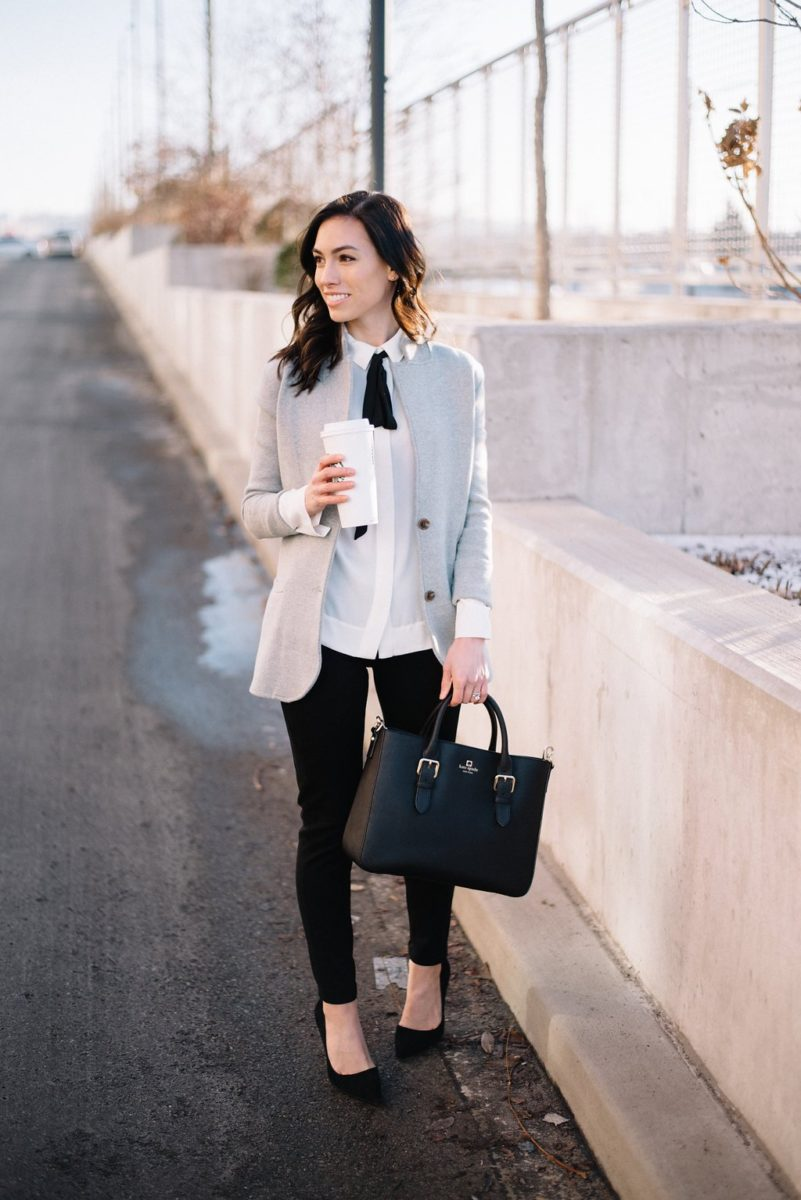 jcrew sweater blazer-@wellesleynking-wellesley and king   How to style a sweater blazer featured by top Pittsburgh fashion blog, Wellesley & King: image of a woman wearing a JCrew grey sweater blazer, Anne Klein bow top, Kate Spade bag and Kate Spade heels
