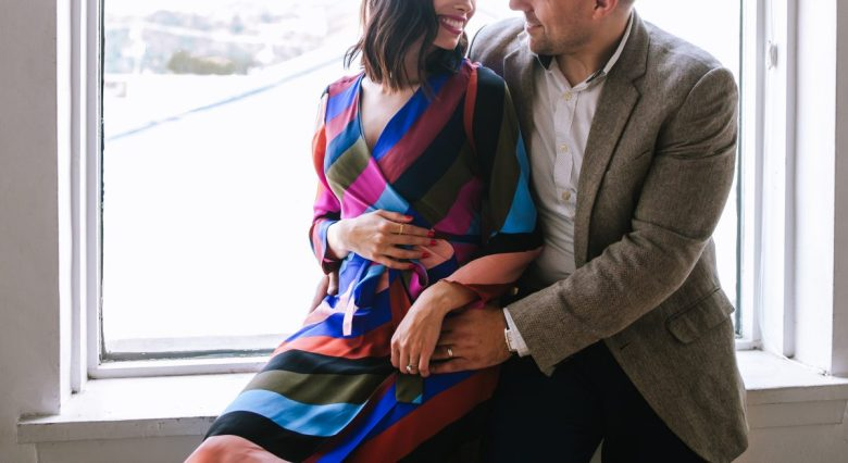 colorful modern baby announcement