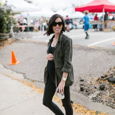 military jacket-distressed maternity jeans-casual fall style