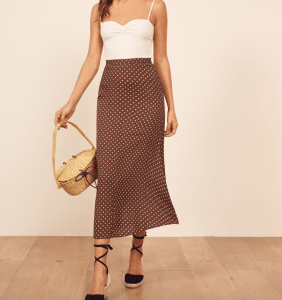 Top US fashion blogger, Wellesley & King, shares favorites by Ethical Fashion Brand, Reformation: reformation bea skirt