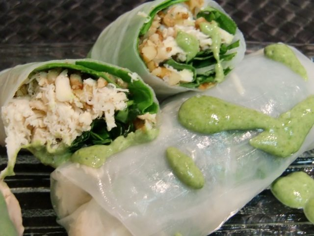 Weekly Recipe – Fresh Chicken Spring Rolls w/Shallot Spinach Sauce