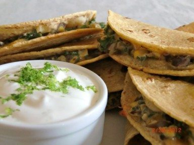 Recipe – Kale, Black Bean, and Corn Moons with Lime Cream Dip